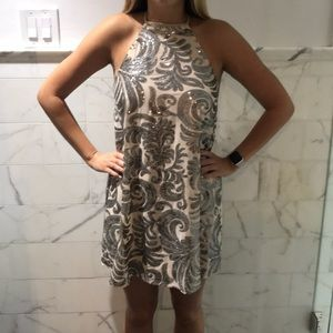 Show me your mumu ivory and silver sequined dress